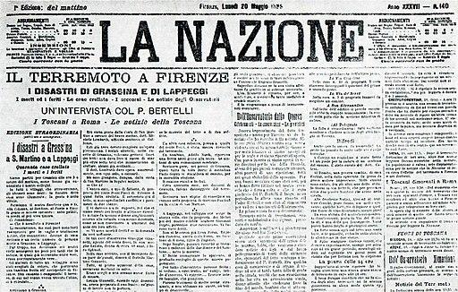 """La prima pagina de """"La Nazione"""" (Fonte: Wikimedia)"""